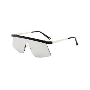 Mirror Semi Rimless Shield Sunglasses - SILVER