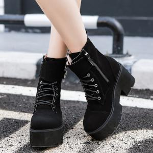 Platform Suede Buckle Straps Ankle Boots -