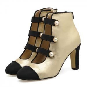Side Zip Color Block Ankle Boots - Abricot 39