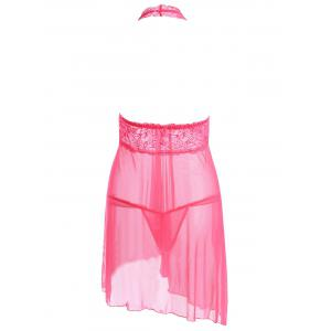 Plunging Neck See Through Split Babydoll - Eau Rouge TAILLE MOYENNE