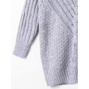 Ribbed High Neck Sweater - GRAY M