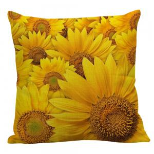 Multi Sunflowers Pattern Square Pillow Case -