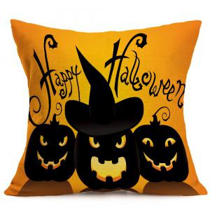 Halloween Pumpkin Skulls Pattern Square Pillow Case - BLACK AND ORANGE W18 INCH * L18 INCH