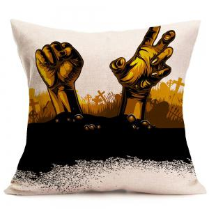 Halloween Tomb Hands Printed Throw Pillowcase - GRAY W18 INCH * L18 INCH