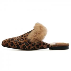 Faux Fur Leopard Mules Shoes -