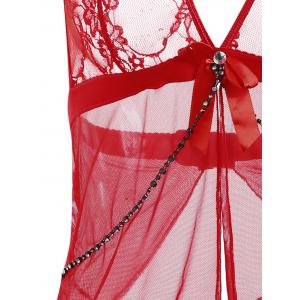 Halter Lace Mesh Babydoll - RED ONE SIZE
