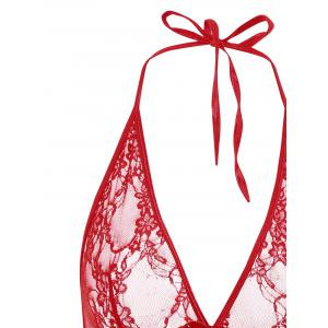 Halter Lace Mesh Babydoll - Rouge TAILLE MOYENNE