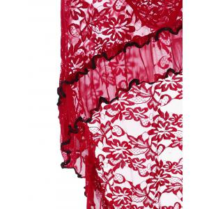Ruffled Lace High Low Babydoll - Rouge TAILLE MOYENNE