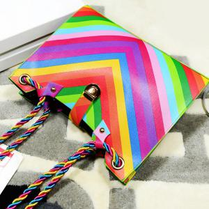 Striped Rainbow PU Leather Shoulder Bag - COLORFUL