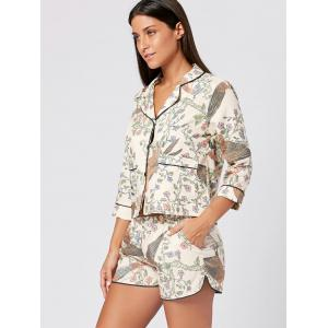Floral Shirt Pajama with Shorts - COLORMIX L