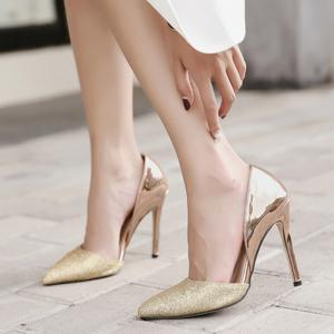 Point Toe Stiletto Heel Metallic Pumps -