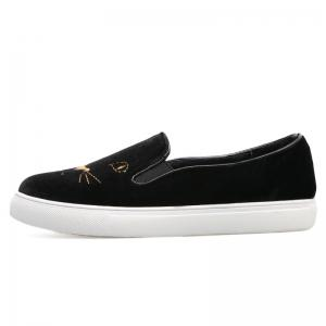 Embroidery Velvet Slip On Sneakers - BLACK 37