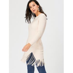 Fringed Ribbed Cut Out Sweater -