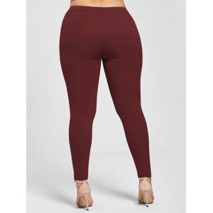 Plus Size Appliqued Heather Skinny Leggings - WINE RED 5XL