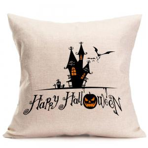 Halloween Castle Printed Throw Pillow Case - BLACK W18 INCH * L18 INCH