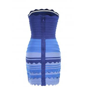 Night Out Ombre Color Tube Bandage Dress - BLUE S
