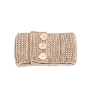 Crochet Warm Button Elastic Hair Band - CAMEL