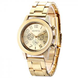 Steel Strap Number Quartz Analog Watch -