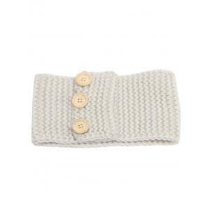Crochet Warm Button Elastic Hair Band - OFF-WHITE