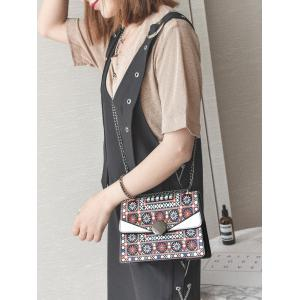 PU Leather Chain Tribal Print Crossbody Bag -