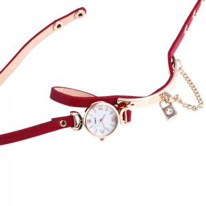 Lock Number Wrap Bracelet Watch - Rouge