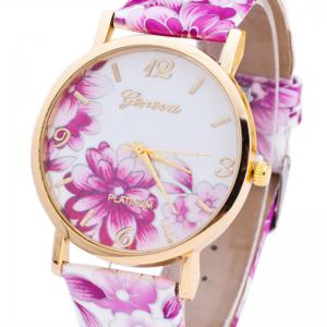 Flowers Print Faux Leather Strap Number Watch -