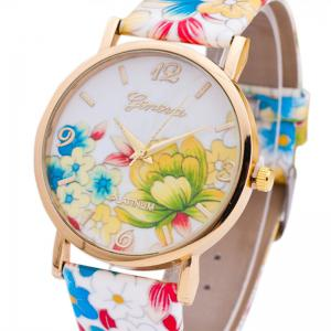 Fleurs Imprimer Faux Leather Strap Number Watch - Coloré