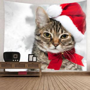 Waterproof Christmas Cat Pattern Wall Hanging Tapestry - COLORFUL W59 INCH * L51 INCH