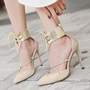 Snake Embossed Ankle Wrap Pumps - APRICOT 37