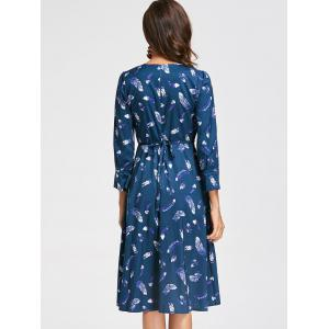 Knee Length Feather Print Surplice Dress - BLUE S