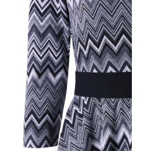Chevron Stripes Fit and Flare Dress - BLACK 2XL