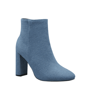 Chunky Heel Denim Boots - BLUE 39