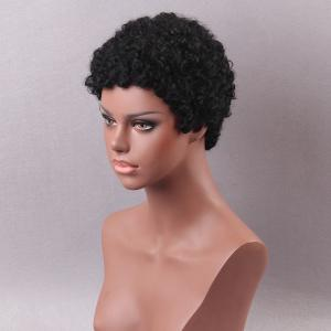 Short Sideswept Bang Shaggy Afro Curls Pixie Perruques pour cheveux humains -