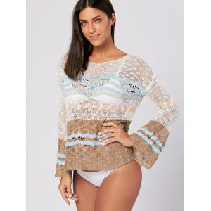 Crochet Cover Up Top with Flare Sleeve - COLORMIX ONE SIZE