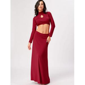 High Waisted Cut Out Two Piece Party Dress - RED XL