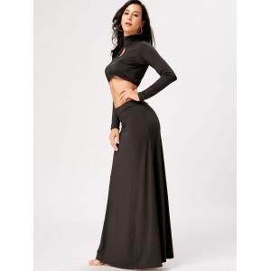 High Waisted Cut Out Two Piece Party Dress - BLACK XL