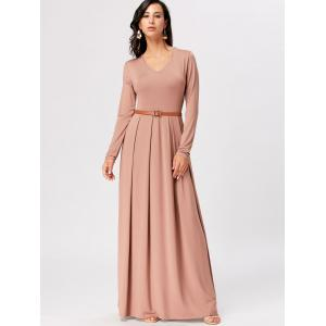 Long Sleeve High Waist A Line Maxi Dress - APRICOT 2XL