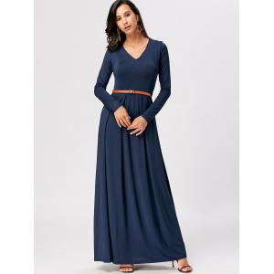 Long Sleeve High Waist A Line Maxi Dress - CERULEAN 2XL