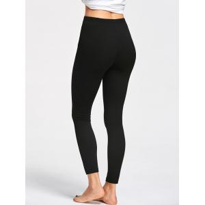 Ripped High Waist Leggings - BLACK M