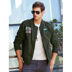 Applique Enbroidered Bomber Jacket - ARMY GREEN 4XL