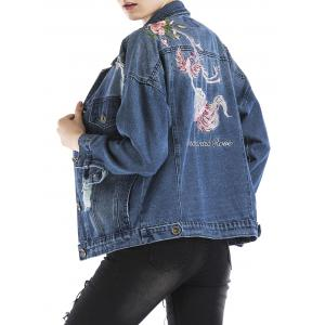 Embroidered Ripped Denim Jacket -