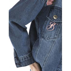 Embroidered Ripped Denim Jacket - BLUE XL