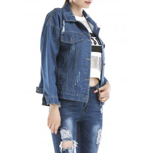 Beaded Ripped Embroidered Denim Jacket -