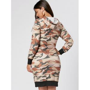 Drawstring Camo Print Hoodie Dress - JUNGLE CAMOUFLAGE S
