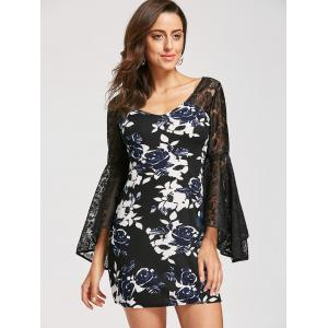 Bell Sleeve Floral Print Lace Panel Dress - BLACK S