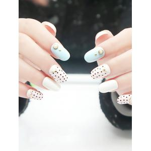 20PCS Small Polka Dot Studed Nail Art Fake Nails - WHITE