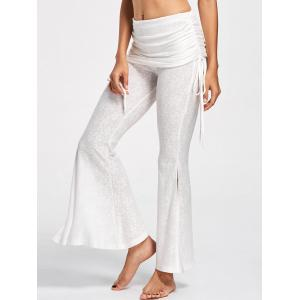 Foldover Ruched Floral Slit Flare Pants - OFF-WHITE M