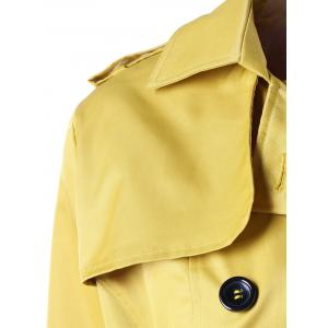 Double Breasted Tie Belt Trench Coat - YELLOW S