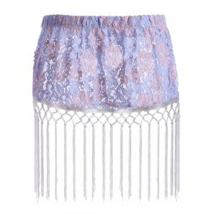 Floral Lace Tassel Plus Size Extender Sheer Skirt -