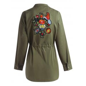 Plus Size Drawstring Floral Embroidered Filed Jacket -